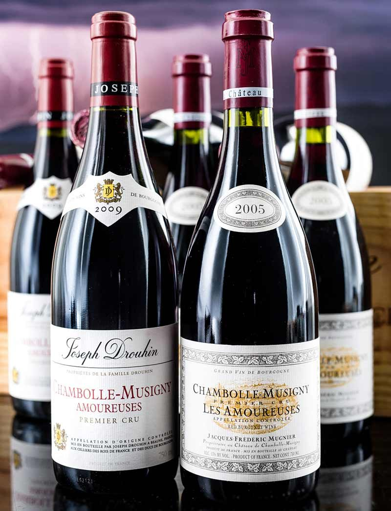 Lot 1041, 1049: 12 bottles each 2009 J. Drouhin and 2005 J.F. Mugnier Chambolle Musigny Les Amoureuses