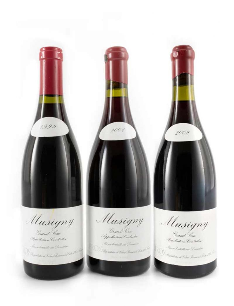Lot 160-162: 3 bottles each 1999 and 2001, and 1 bottle 2002 Domaine Leroy Musigny