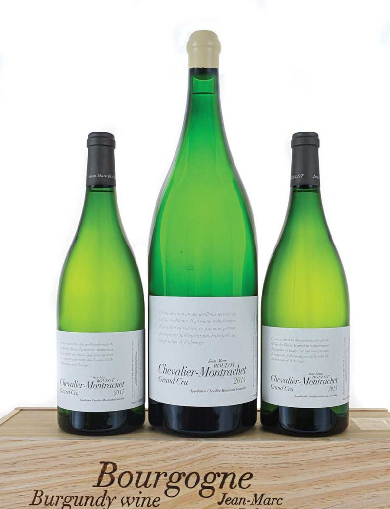 Lot 344-346: 1 Jeroboam 2014, and 1 magnum each 2015 and 2017 J.M. Roulot Chevalier Montrachet