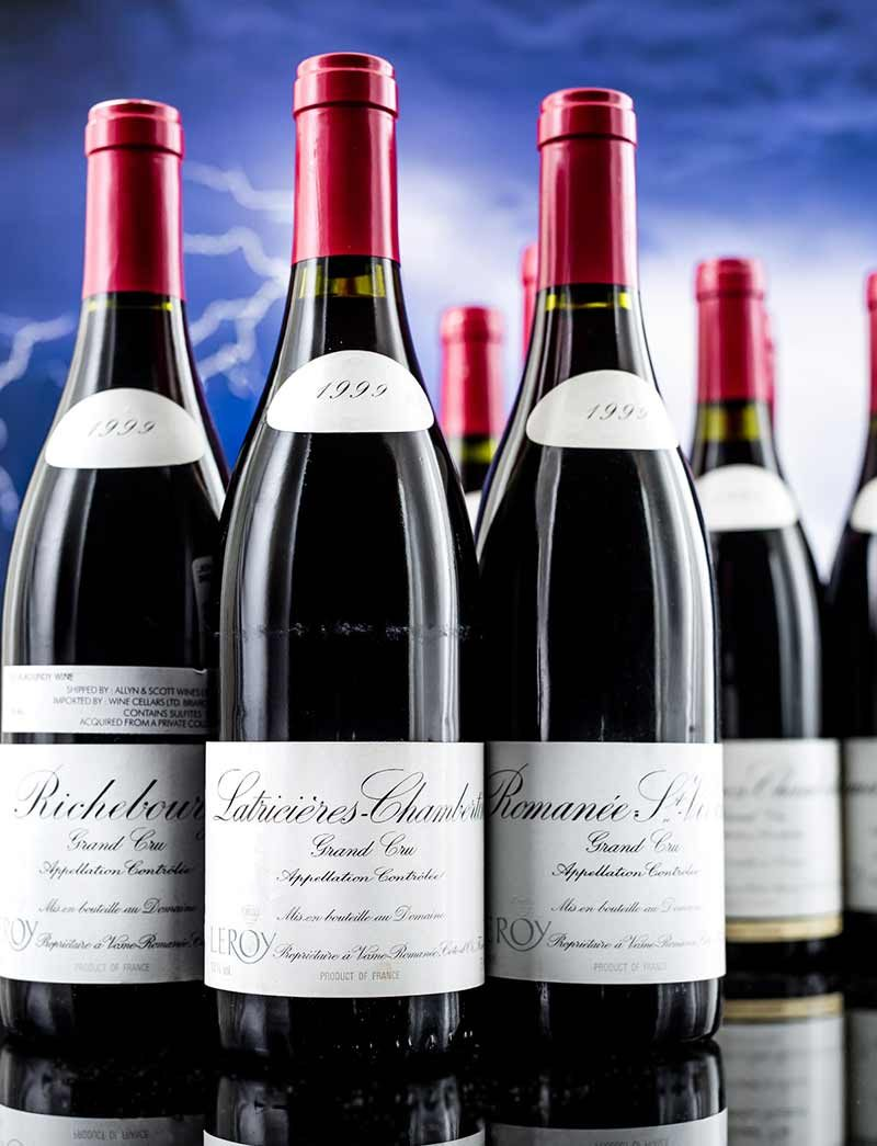 Lot 397, 400, 402: 3 bottles 1999 Domaine Leroy Latricieres Chambertin and Richebourg and 4 bottles Romanee St. Vivant