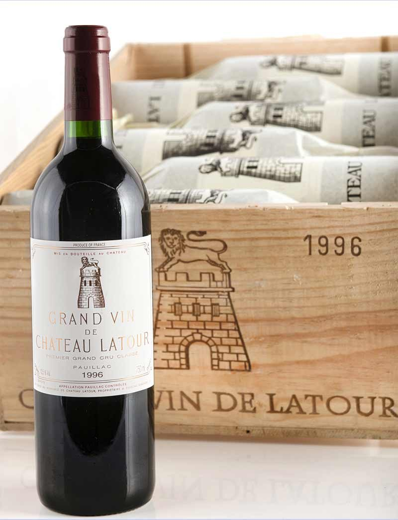 Lot 594: 12 bottles 1996 Chateau Latour in OWC