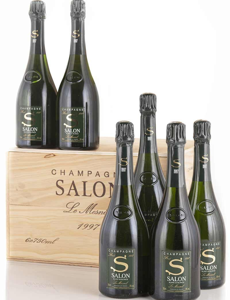 Lot 999: 6 bottles 1997 Salon Vintage Champagne Le Mesnil in OWCs
